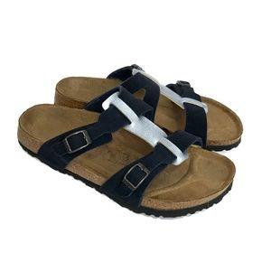BIRKENSTOCK Birkis Blue Slide Sandals Double Strap